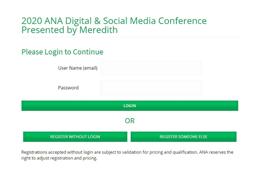 ANA Digital Social Media Conference Registration