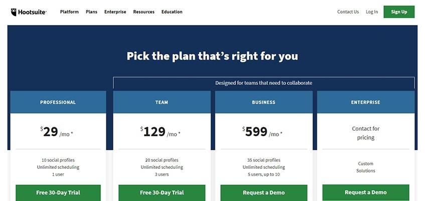 Hootsuite Plans