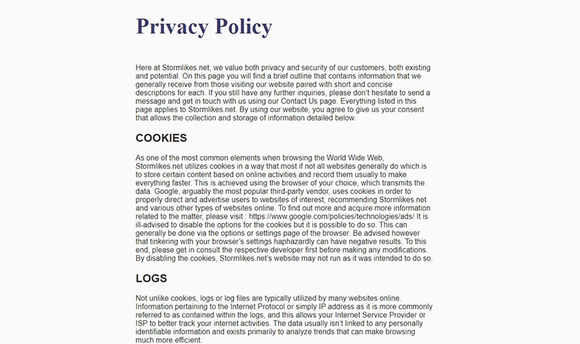Stormlikes Privacy Policy