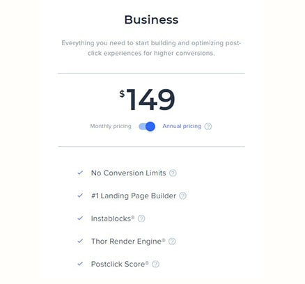 Instapage Pricing Business