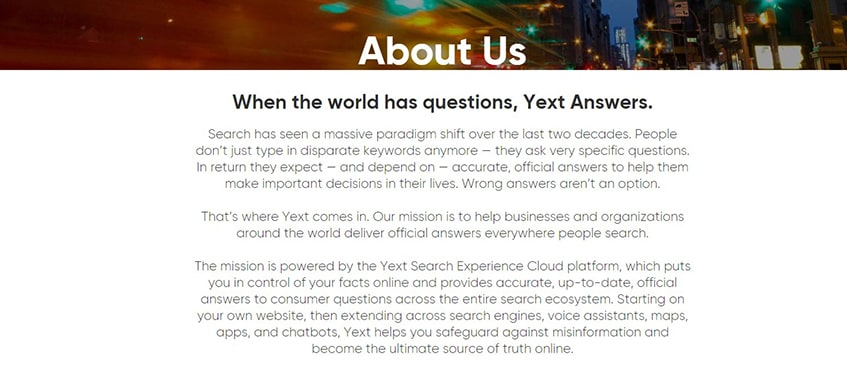 Yext Background Information