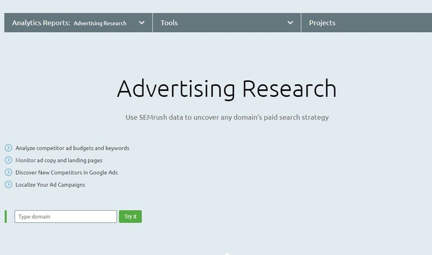 semrush-single-review-Advertising Research