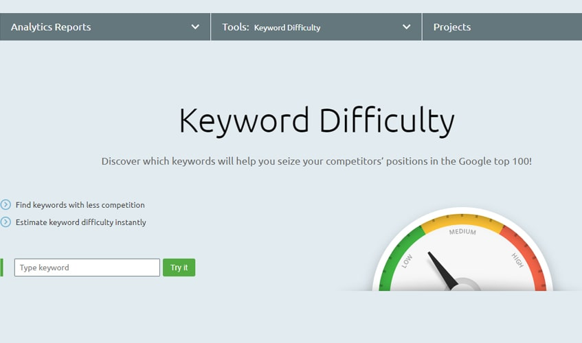 semrush-single-review-Keyword Difficulty