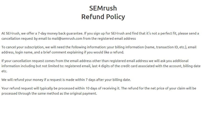 semrush-single-review-refound-policy